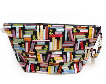 Project Bag - Knitting Project Bag - Yarn Bag - Cosmetic Bag - Bag with Divider - Zipper Project Bag - Book Worm.