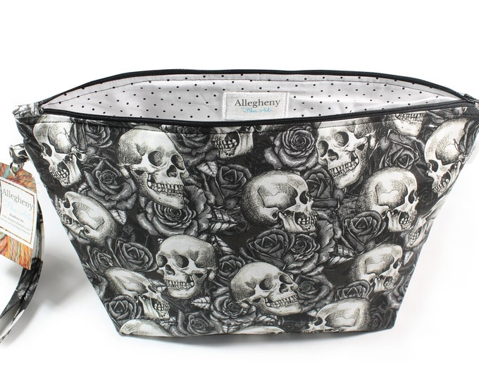 Featured listing image: Project Bag - Knitting Project Bag - Yarn Bag - Zipper Project Bag - Sketched Skulls and Roses