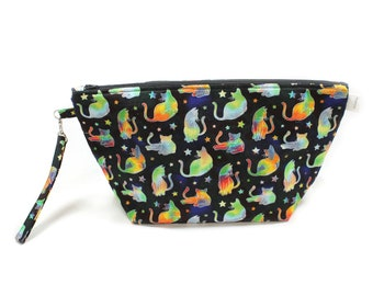 Project Bag - Knitting Project Bag - Yarn Bag - Cosmetic Bag - Bag with Divider - Zipper Project Bag - Cats