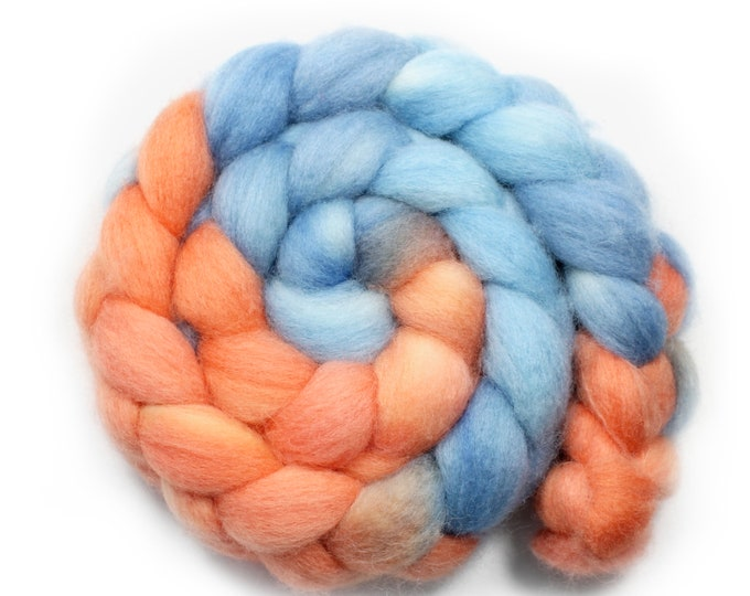 Featured listing image: Hand Painted Roving - BFL - 4 Ounces - Coral Reef