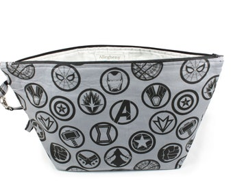 Project Bag - Knitting Project Bag - Yarn Bag - Cosmetic Bag - Bag with Divider - Zipper Project Bag - Avengers Gray