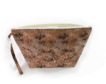 Project Bag - Bronze Swirls - Knitting Project Bag - Yarn Bag - Cosmetic Bag - Bag with Divider - Zipper Project Bag