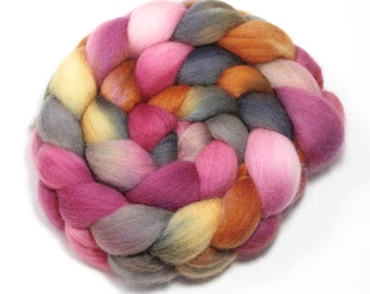 Hand Painted Roving - Sugar and Spice - Falkland wool, 4 Ounces