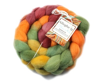 Roving - Hand Painted Roving - Fall in the Forest - Falkland Wool, 4 ounces