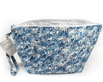 Project Bag - Knitting Project Bag - Yarn Bag - Zipper Project Bag - Blue Speckle