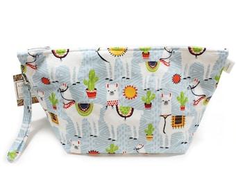 Project Bag - Knitting Project Bag - Yarn Bag - Cosmetic Bag - Bag with Divider - Zipper Project Bag - Sunny Llama