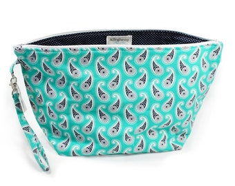 Project Bag - Knitting Project Bag - Yarn Bag - Zipper Project Bag - Teal Paisley