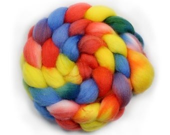 Hand painted Roving - Hand dyed roving - dyed roving - Rock Candy - Falkland Wool, 4 ounces.