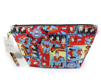 Project Bag - Knitting Project Bag - Yarn Bag - Cosmetic Bag - Bag with Divider - Zipper Project Bag - project bag with lanyard - Superman