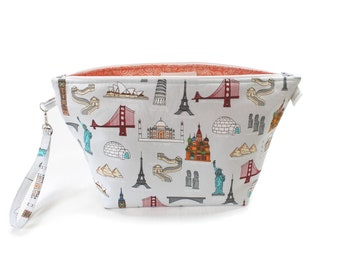 Project Bag - Knitting Project Bag - Yarn Bag - Cosmetic Bag - Bag with Divider - Zipper Project Bag - Ice Cream Kitty