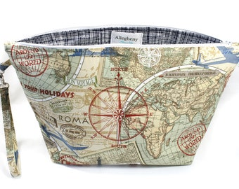 Project Bag - Knitting Project Bag - Yarn Bag - Zipper Project Bag - Travel Map
