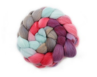 Roving - Hand Dyed Roving - Floral Carnival - Targhee Wool - 4 Ounces