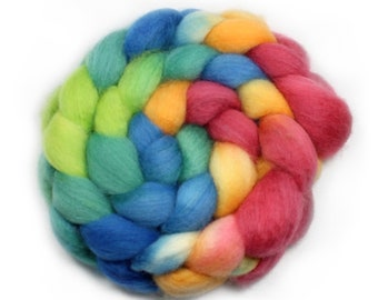 Handpainted Roving -  Hand dyed Roving - Dyed Roving - Spinning Fiber - My Jam - Falkland Wool, 4 Ounces.