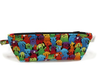 Knitting accessory Bag - Cosmetic Bag - Small project bag - Zipper Project Bag - Rainbow Puppies