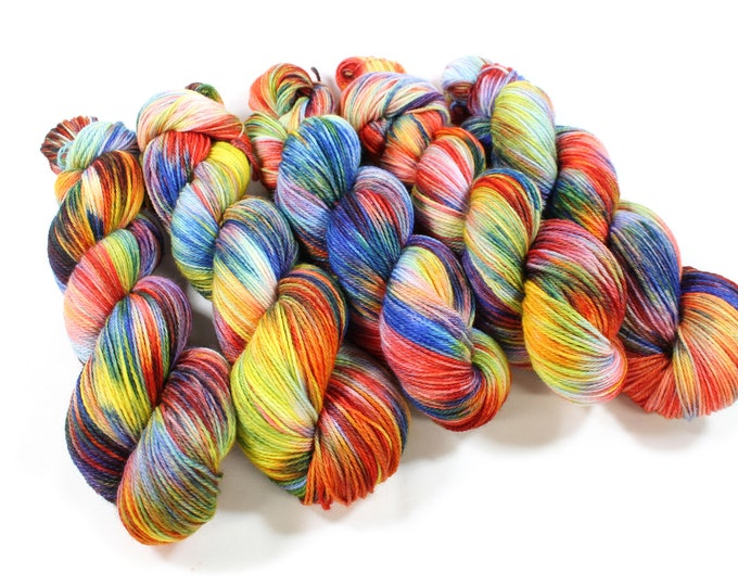 Featured listing image: Hand dyed yarn - Corriedale Wool -  hand dyed fingering weight yarn - 400 yards - Sock Yarn - fingering weight yarn - Color Wheel