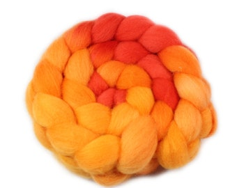 Roving - hand dyed roving - Falkland wool - 4 ounces - Fire