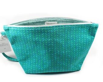 Project Bag - Knitting Project Bag - Yarn Bag - Zipper Project Bag -Teal Knit Stitch