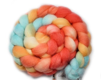 Hand Painted Roving - BFL - 4 Ounces - Florida Lobster