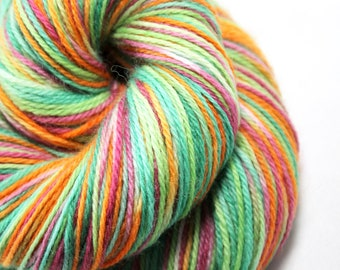 Hand painted yarn - hand dyed yarn - dyed yarn - hand dyed fingering weight yarn - 400 yards - fingering weight yarn - Carrots and Radishes