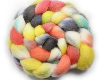 Handpainted Roving- dyed roving - dyed wool - spinning fiber - Falkland wool, 4 ounces - Imagine