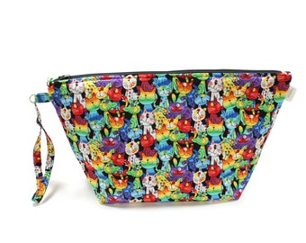 Project Bag - Knitting Project Bag - Yarn Bag - Cosmetic Bag - Bag with Divider - Zipper Project Bag - Rainbow spotted Cats