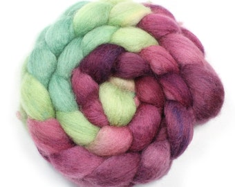 Roving - Hand Painted Roving - Vineyard - Blue Face Leicester - 4 Ounces