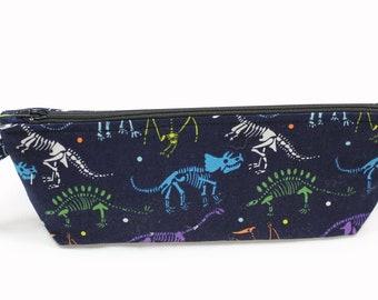Knitting accessory Bag - Cosmetic Bag - Small project bag - Zipper Project Bag - Dino Bones