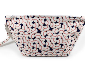 Project Bag - Knitting Project Bag - Yarn Bag - Zipper Project Bag - baseball