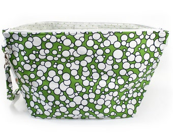 Project Bag - Knitting Project Bag - Yarn Bag - Zipper Project Bag - Green Dots