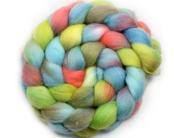 Roving - Hand Painted Roving - Hand dyed Roving - Coastal Erosion - Falkland Wool - 4 Ounces