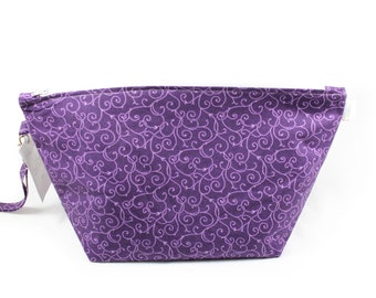 Project Bag - Knitting Project Bag - Yarn Bag - Zipper Project Bag - purple swirls