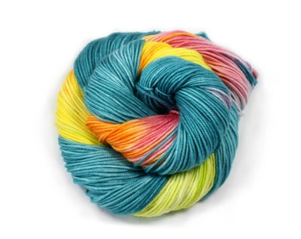 Hand Dyed Yarn - Dyed Yarn - 100% Superwash Merino - DK Weight - 200 Yards - Tropical Vacay
