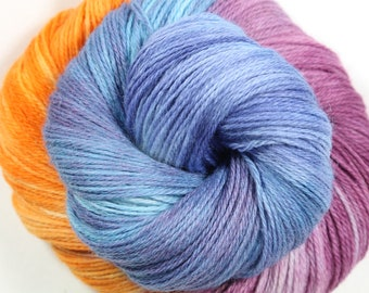 HandPainted Yarn - Hand painted yarn - hand dyed yarn - Fingering Weight - sock yarn - Corriedale  wool - eco-friendly yarn -Painterly Hues