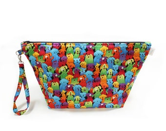 Project Bag - Knitting Project Bag - Yarn Bag - Cosmetic Bag - Bag with Divider - Zipper Project Bag - Rainbow Puppies