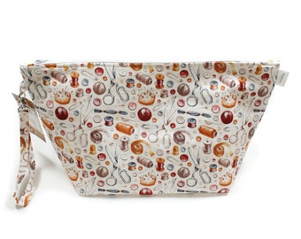 Project Bag - Knitting Project Bag - Yarn Bag - Cosmetic Bag - Bag with Divider - Zipper Project Bag - Sewing Notions