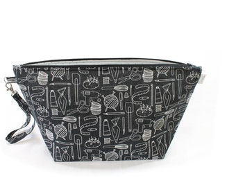 Project Bag - Fun Crafts - Knitting Project Bag - Yarn Bag - Cosmetic Bag - Bag with Divider - Zipper Project Bag