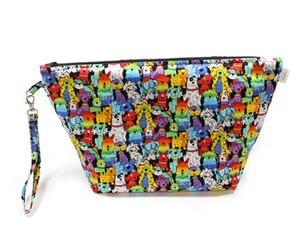 Project Bag - Knitting Project Bag - Yarn Bag - Cosmetic Bag - Bag with Divider - Zipper Project Bag - Rainbow spotted puppies
