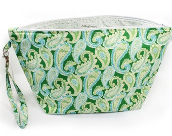 Project Bag - Knitting Project Bag - Yarn Bag - Zipper Project Bag - Green Paisley