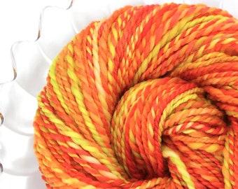 Handspun Yarn - Candy Corn -  Falkland wool, Heavy Worsted Weight, 137 Yards