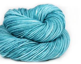 Hand Dyed Yarn - 100% Superwash Merino - DK Weight -Ocean Semi Solid - 200 Yards