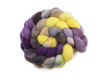 Hand Painted Roving - Dyed Roving - Hand dyed roving - Pansies - 100% Merino wool -  4 Ounces