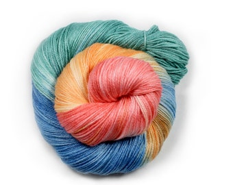 Hand painted yarn - hand dyed yarn - dyed yarn - hand dyed fingering weight yarn - 400 yards - fingering weight yarn - Paper Flowers
