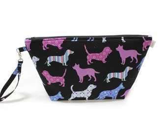 Project Bag - Knitting Project Bag - Yarn Bag - Cosmetic Bag - Bag with Divider - Zipper Project Bag - Purple Dogs