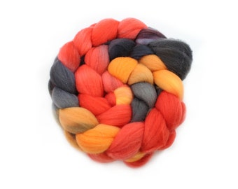 Rovings - Hand Dyed Roving - Flame - Targhee Wool - 4 Ounces