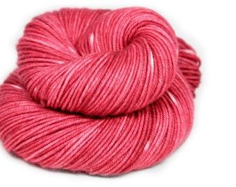 Hand Dyed Yarn - 100% Superwash Merino - DK Weight - Raspberry Semi Solid - 200 Yards