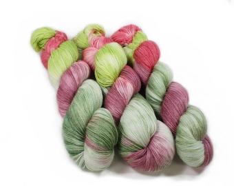 Hand dyed Yarn - Hand painted yarn - dyed yarn - hand dyed fingering weight yarn - 400 yards - fingering weight yarn - Spring Wreath