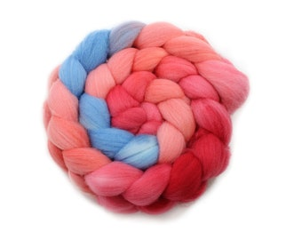 Roving - Hand Dyed Roving - Cherry Blossom - Targhee Wool - 4 Ounces