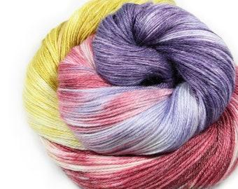 Hand painted yarn - hand dyed yarn - dyed yarn - hand dyed fingering weight yarn - 400 yards - fingering weight yarn - Raspberry Tart