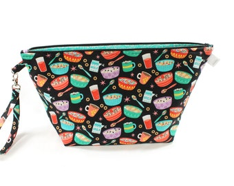 Project Bag - Retro Breakfast - Knitting Project Bag - Yarn Bag - Cosmetic Bag - Bag with Divider - Zipper Project Bag