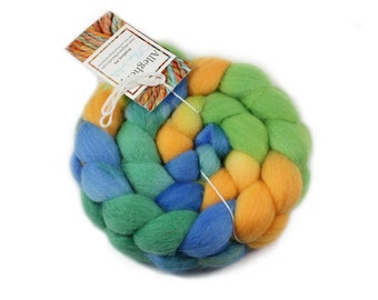 Hand Painted Roving - hand dyed - eco friendly - Falkland Wool, 4 ounces - Gecko